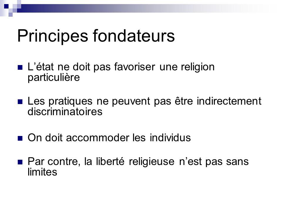 Principes fondateurs Létat ne doit pas favoriser une religion particulière Les pratiques ne peuvent pas être indirectement discriminatoires On doit ac
