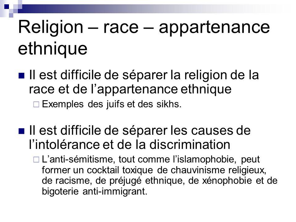 Religion – race – appartenance ethnique Il est difficile de séparer la religion de la race et de lappartenance ethnique Exemples des juifs et des sikh