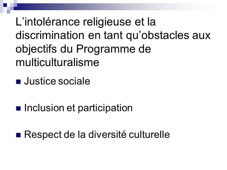 Lintolérance religieuse et la discrimination en tant quobstacles aux objectifs du Programme de multiculturalisme Justice sociale Inclusion et particip