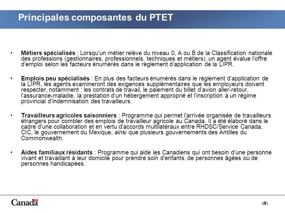 # Le nombre de demandes de travailleurs étrangers temporaires (AMT) dont le traitement est réalisé par RHDSC/Service Canada est passé de 79 000 (2000) à 150 000 (2006), soit une augmentation 90 % sur six ans.