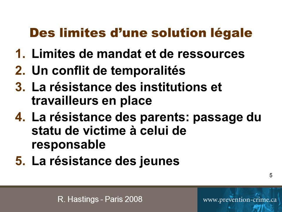 R. Hastings - Paris 2008 5 Des limites dune solution légale 1.Limites de mandat et de ressources 2.Un conflit de temporalités 3.La résistance des inst