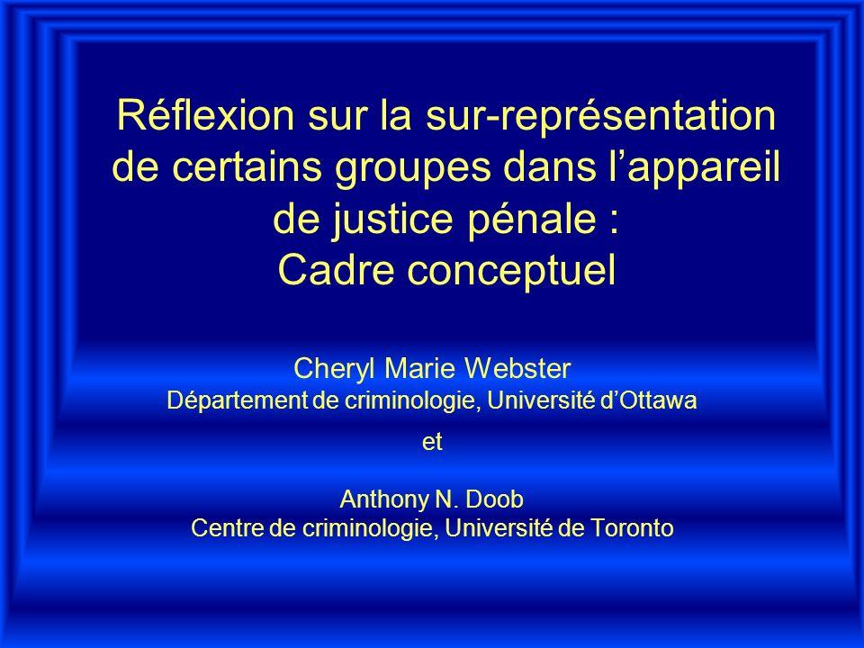 Réflexion sur la sur-représentation de certains groupes dans lappareil de justice pénale : Cadre conceptuel Cheryl Marie Webster Département de criminologie, Université dOttawa et Anthony N.