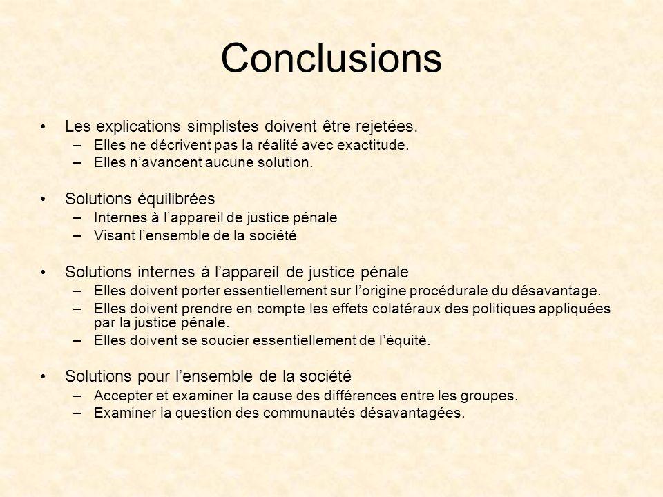 Conclusions Les explications simplistes doivent être rejetées.