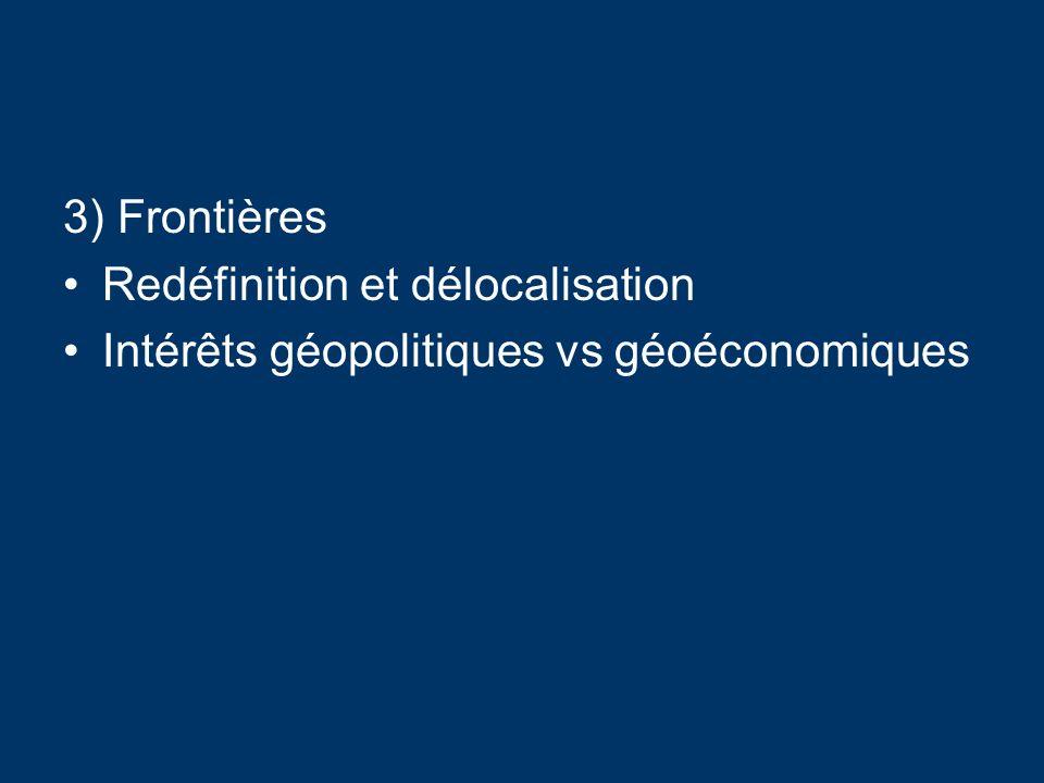 3) Frontières Redéfinition et délocalisation Intérêts géopolitiques vs géoéconomiques