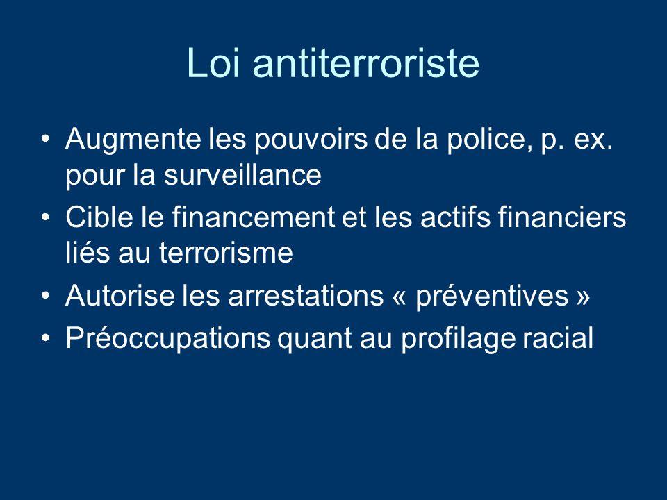 Loi antiterroriste Augmente les pouvoirs de la police, p.
