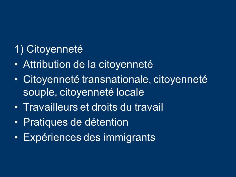 1) Citoyenneté Attribution de la citoyenneté Citoyenneté transnationale, citoyenneté souple, citoyenneté locale Travailleurs et droits du travail Pratiques de détention Expériences des immigrants