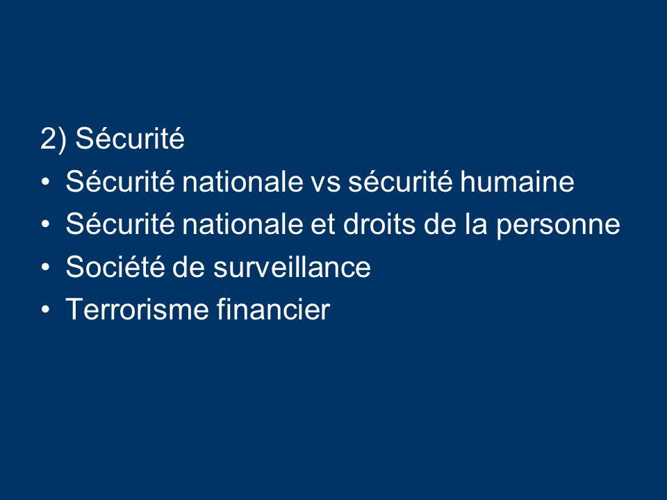 2) Sécurité Sécurité nationale vs sécurité humaine Sécurité nationale et droits de la personne Société de surveillance Terrorisme financier