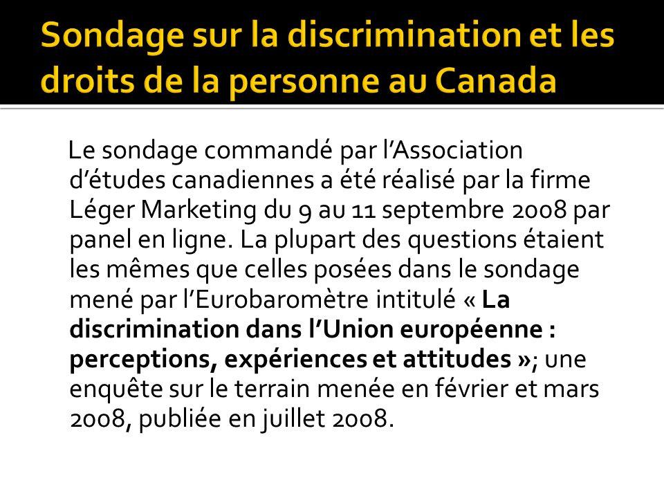 Le sondage commandé par lAssociation détudes canadiennes a été réalisé par la firme Léger Marketing du 9 au 11 septembre 2008 par panel en ligne. La p