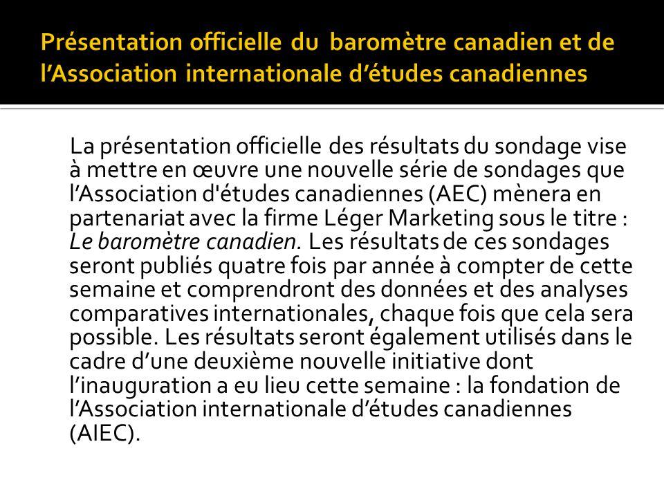 La présentation officielle des résultats du sondage vise à mettre en œuvre une nouvelle série de sondages que lAssociation d'études canadiennes (AEC)