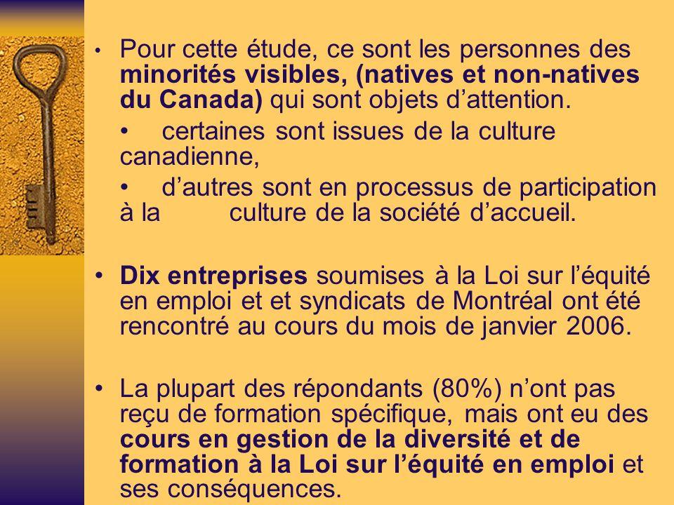 Pour cette étude, ce sont les personnes des minorités visibles, (natives et non-natives du Canada) qui sont objets dattention.