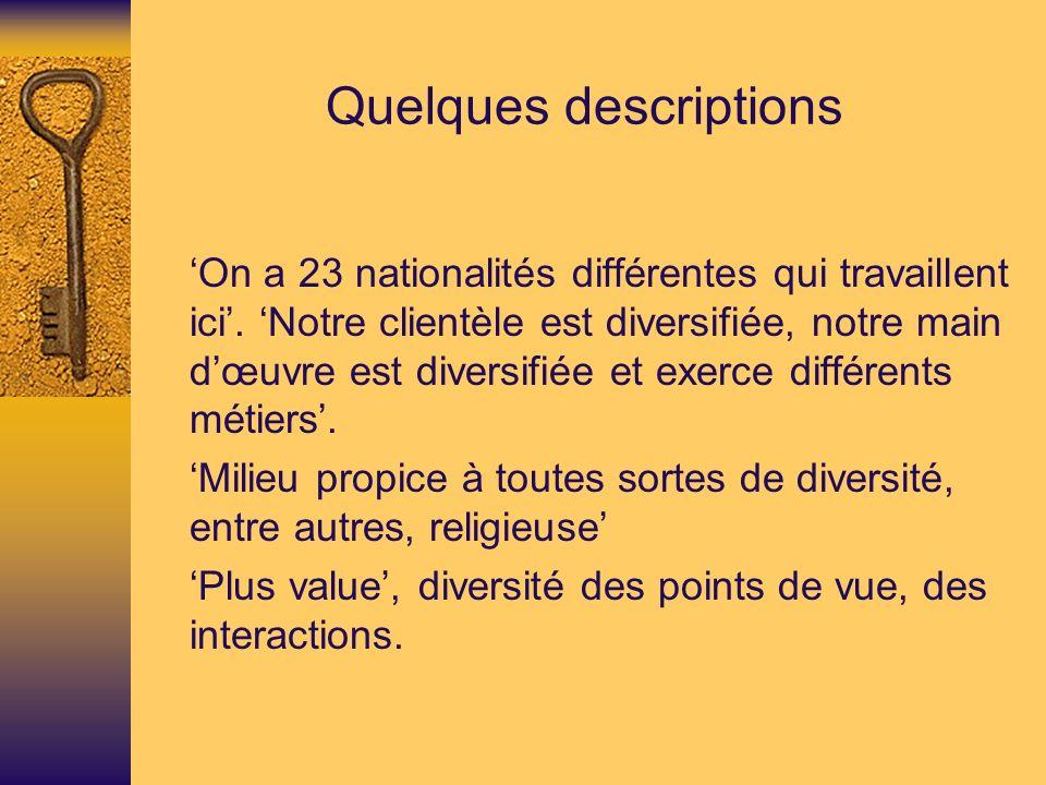 Quelques descriptions On a 23 nationalités différentes qui travaillent ici.
