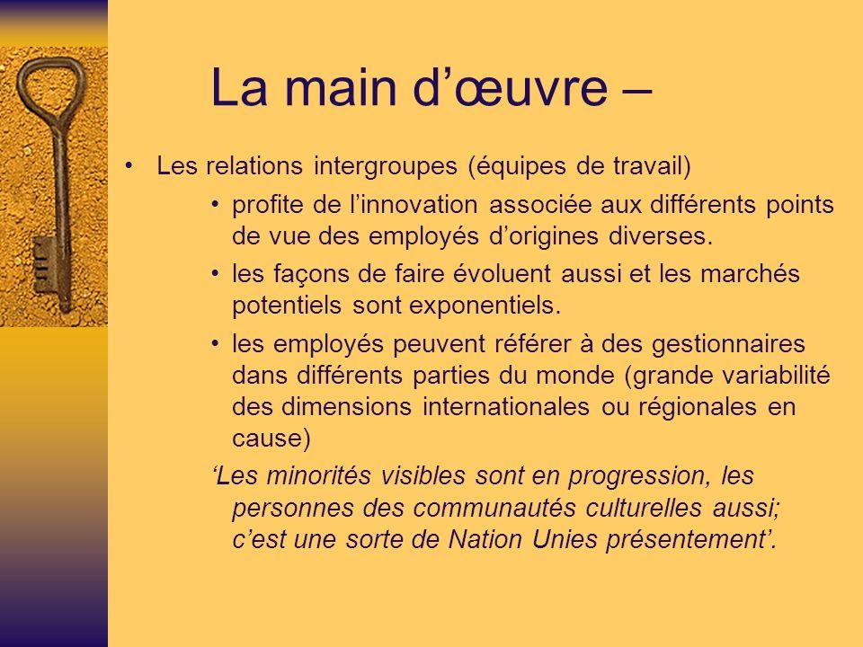 La main dœuvre – Les relations intergroupes (équipes de travail) profite de linnovation associée aux différents points de vue des employés dorigines diverses.