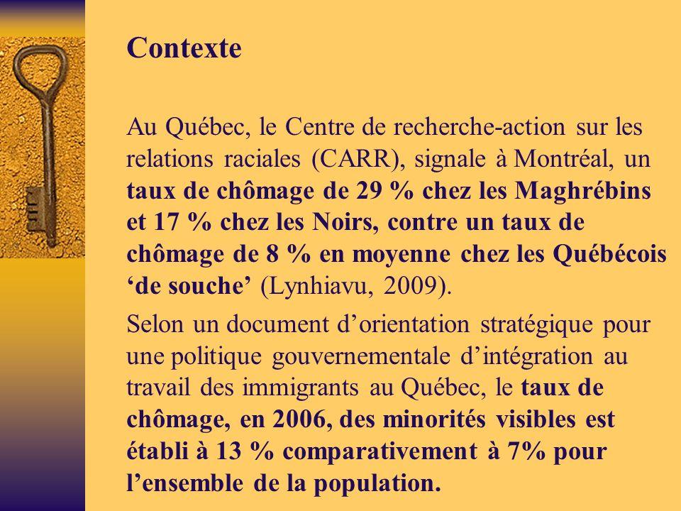 Contexte Au Québec, le Centre de recherche-action sur les relations raciales (CARR), signale à Montréal, un taux de chômage de 29 % chez les Maghrébins et 17 % chez les Noirs, contre un taux de chômage de 8 % en moyenne chez les Québécois de souche (Lynhiavu, 2009).
