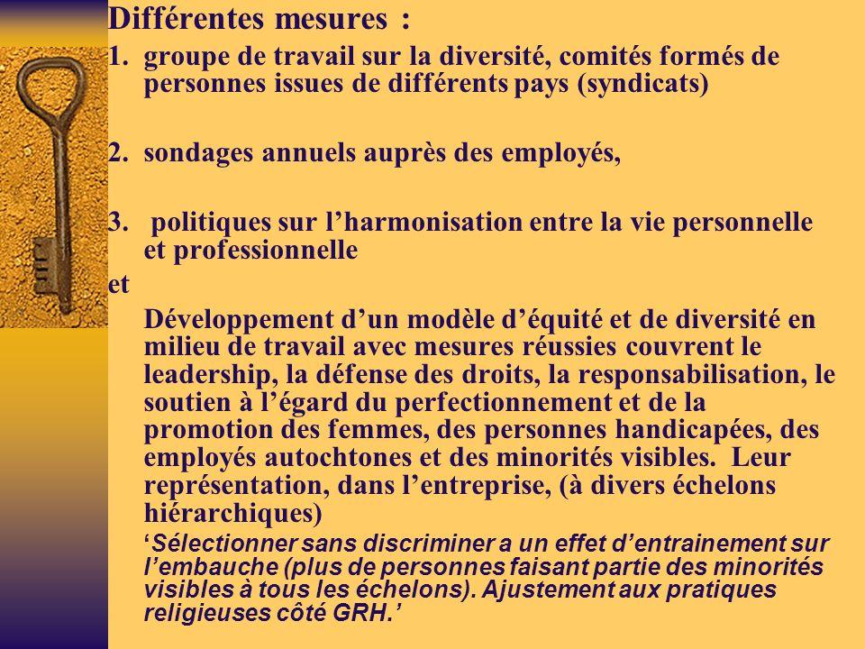 Différentes mesures : 1.groupe de travail sur la diversité, comités formés de personnes issues de différents pays (syndicats) 2.sondages annuels auprès des employés, 3.