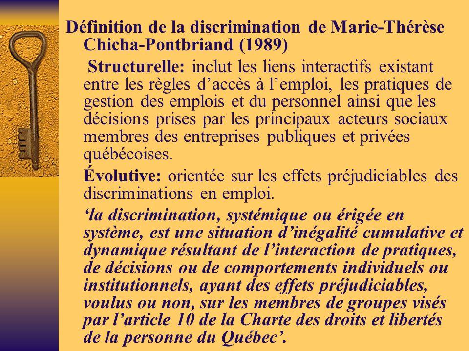 Définition de la discrimination de Marie-Thérèse Chicha-Pontbriand (1989) Structurelle: inclut les liens interactifs existant entre les règles daccès à lemploi, les pratiques de gestion des emplois et du personnel ainsi que les décisions prises par les principaux acteurs sociaux membres des entreprises publiques et privées québécoises.