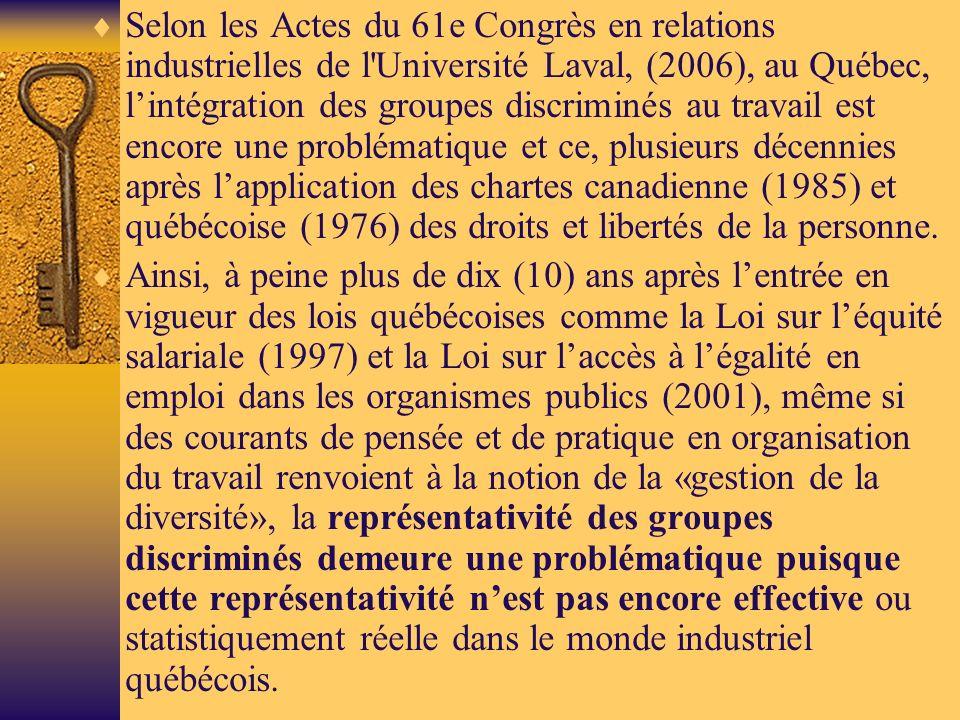 Selon les Actes du 61e Congrès en relations industrielles de l Université Laval, (2006), au Québec, lintégration des groupes discriminés au travail est encore une problématique et ce, plusieurs décennies après lapplication des chartes canadienne (1985) et québécoise (1976) des droits et libertés de la personne.