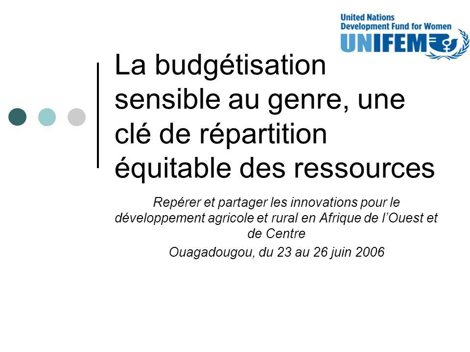 La budgétisation sensible au genre, une clé de répartition équitable des ressources Repérer et partager les innovations pour le développement agricole et rural en Afrique de lOuest et de Centre Ouagadougou, du 23 au 26 juin 2006