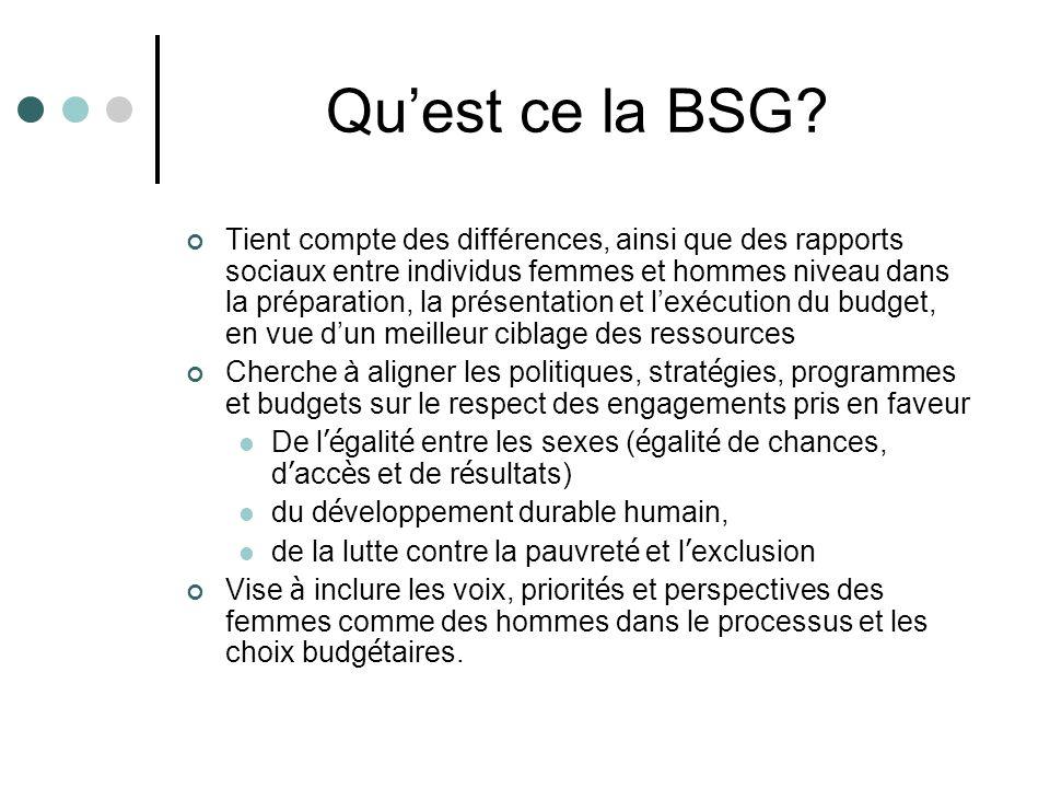 Quest ce la BSG? Tient compte des différences, ainsi que des rapports sociaux entre individus femmes et hommes niveau dans la préparation, la présenta
