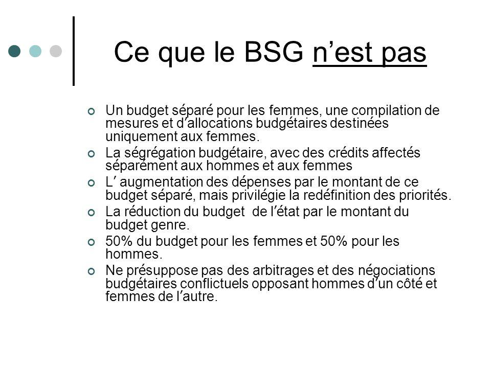 Ce que le BSG nest pas Un budget s é par é pour les femmes, une compilation de mesures et d allocations budg é taires destin é es uniquement aux femmes.