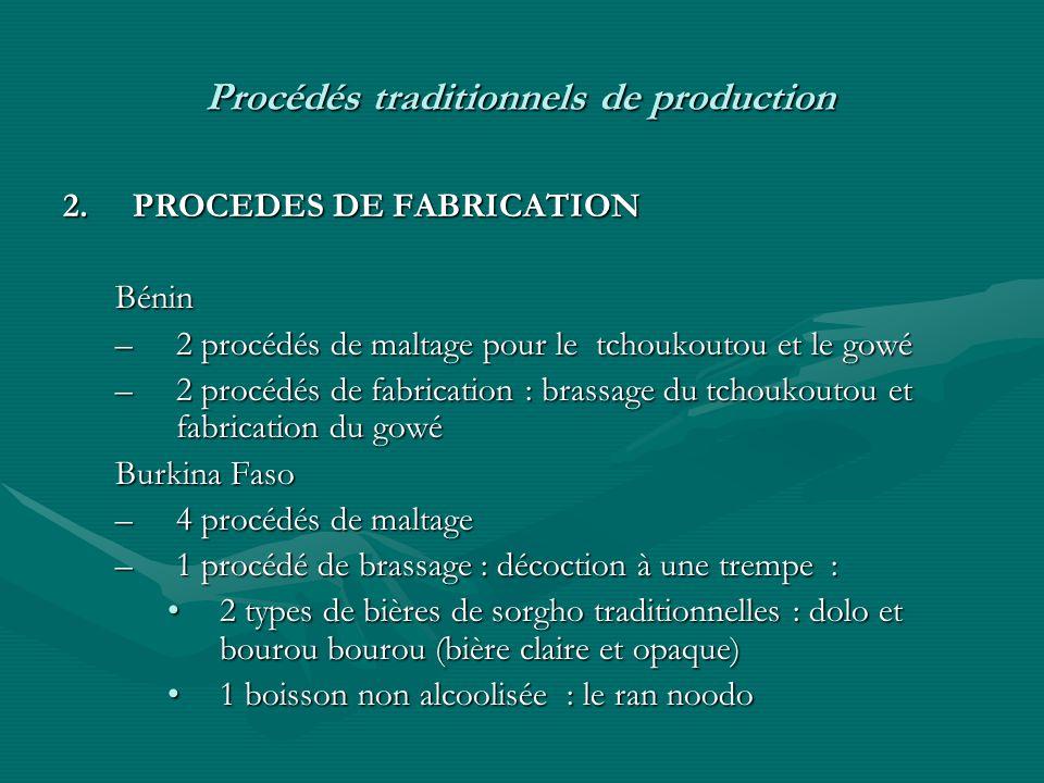 Procédés traditionnels de production 2.PROCEDES DE FABRICATION Bénin –2 procédés de maltage pour le tchoukoutou et le gowé –2 procédés de fabrication