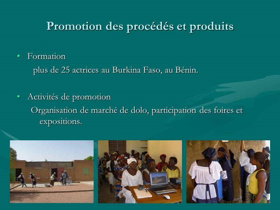Promotion des procédés et produits FormationFormation plus de 25 actrices au Burkina Faso, au Bénin. plus de 25 actrices au Burkina Faso, au Bénin. Ac