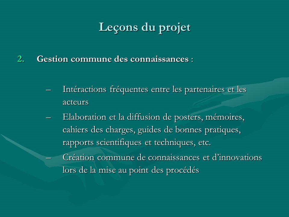 Leçons du projet 2.Gestion commune des connaissances : –Intéractions fréquentes entre les partenaires et les acteurs –Elaboration et la diffusion de p