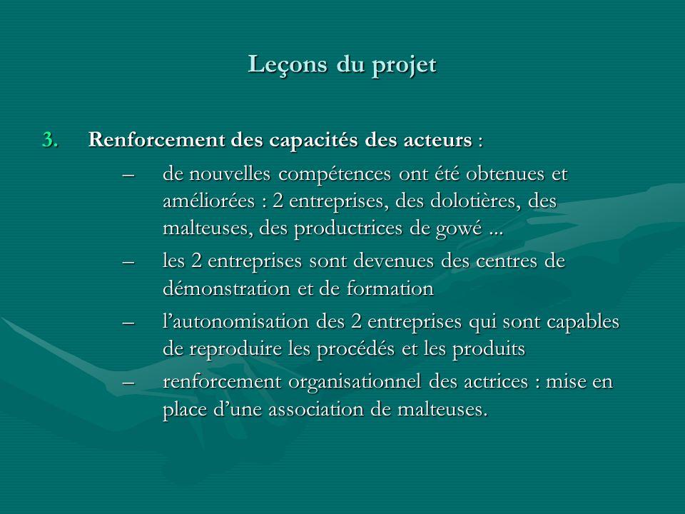 3.Renforcement des capacités des acteurs : –de nouvelles compétences ont été obtenues et améliorées : 2 entreprises, des dolotières, des malteuses, de