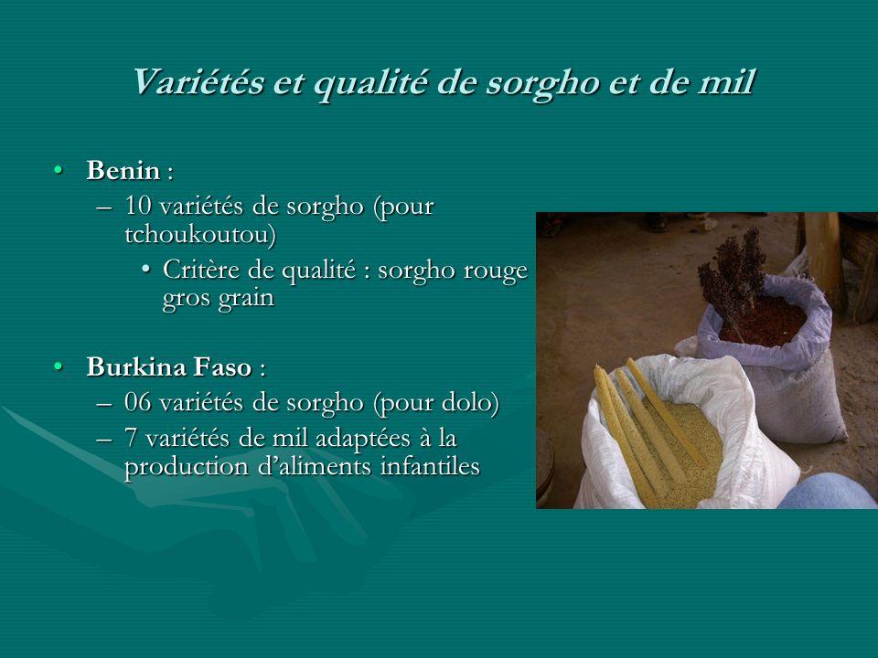 Variétés et qualité de sorgho et de mil Benin :Benin : –10 variétés de sorgho (pour tchoukoutou) Critère de qualité : sorgho rouge gros grainCritère d
