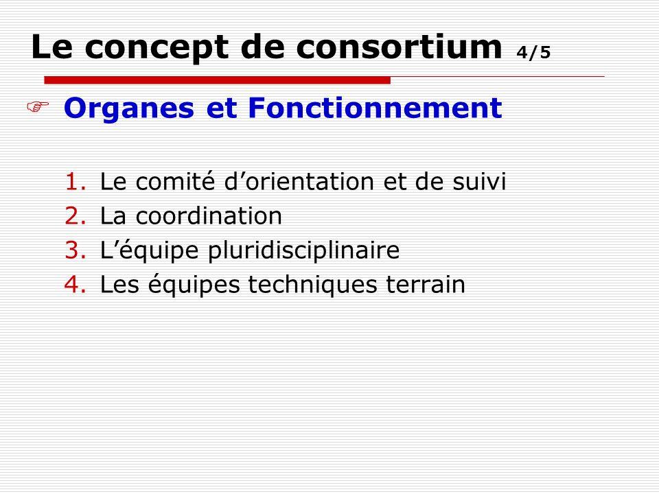 Le concept de consortium 4/5 Organes et Fonctionnement 1.Le comité dorientation et de suivi 2.La coordination 3.Léquipe pluridisciplinaire 4.Les équipes techniques terrain