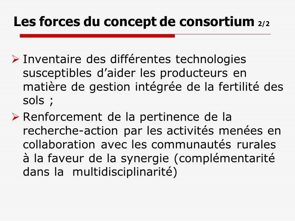 Les forces du concept de consortium 2/2 Inventaire des différentes technologies susceptibles daider les producteurs en matière de gestion intégrée de la fertilité des sols ; Renforcement de la pertinence de la recherche-action par les activités menées en collaboration avec les communautés rurales à la faveur de la synergie (complémentarité dans la multidisciplinarité)