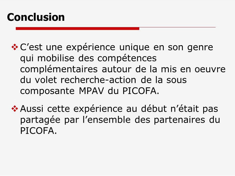 Conclusion Cest une expérience unique en son genre qui mobilise des compétences complémentaires autour de la mis en oeuvre du volet recherche-action de la sous composante MPAV du PICOFA.