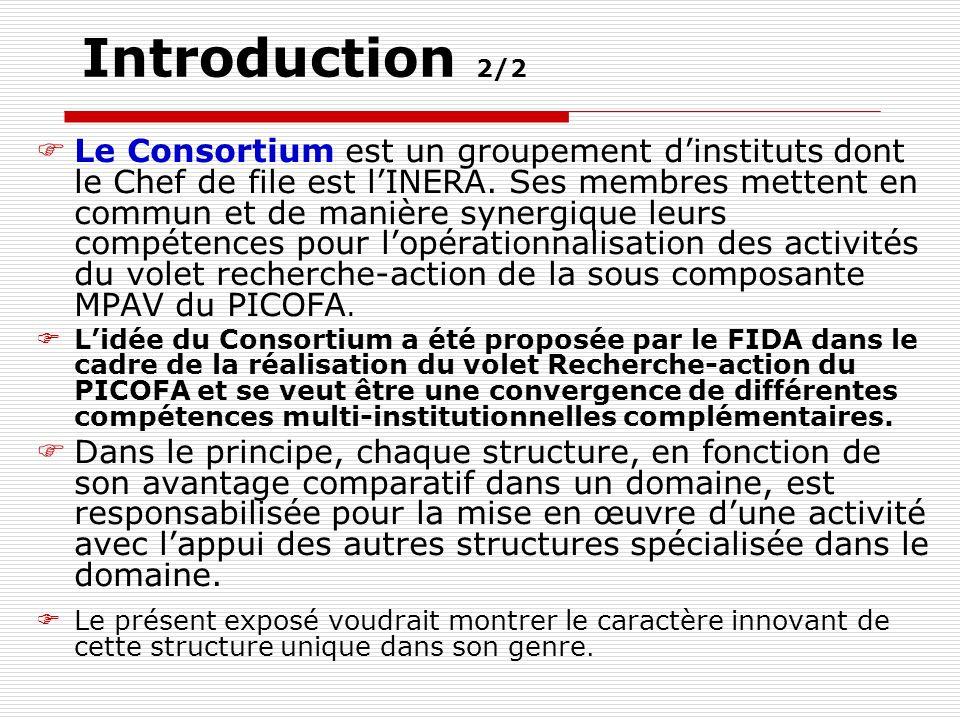 Introduction 2/2 Le Consortium est un groupement dinstituts dont le Chef de file est lINERA.