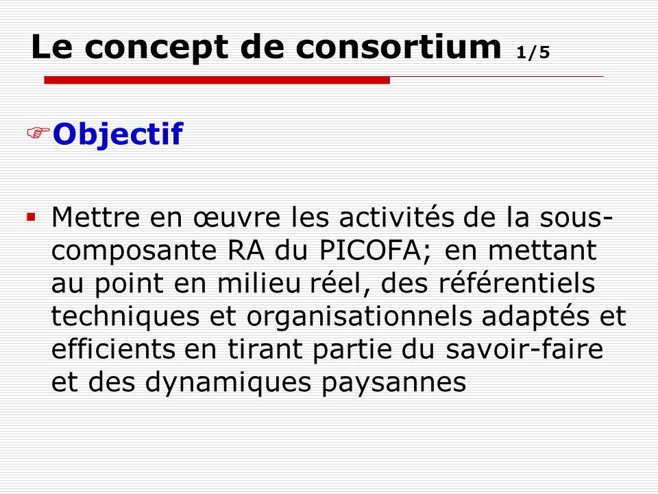 Le concept de consortium 1/5 Objectif Mettre en œuvre les activités de la sous- composante RA du PICOFA; en mettant au point en milieu réel, des référentiels techniques et organisationnels adaptés et efficients en tirant partie du savoir-faire et des dynamiques paysannes