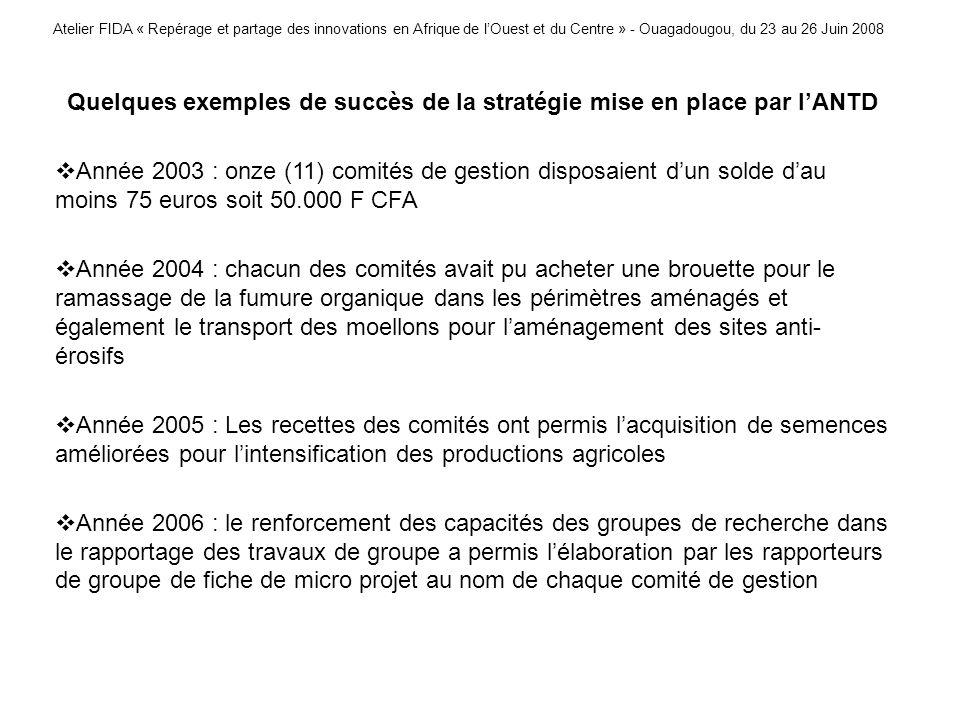 Atelier FIDA « Repérage et partage des innovations en Afrique de lOuest et du Centre » - Ouagadougou, du 23 au 26 Juin 2008 Quelques exemples de succè