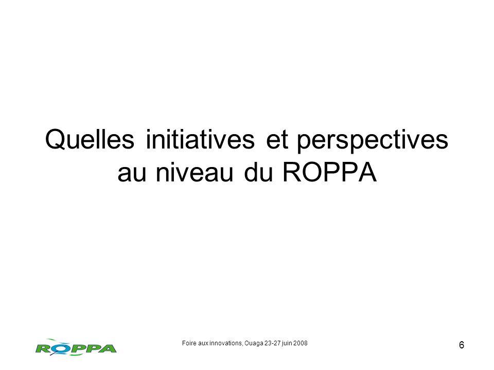 Foire aux innovations, Ouaga 23-27 juin 2008 6 Quelles initiatives et perspectives au niveau du ROPPA