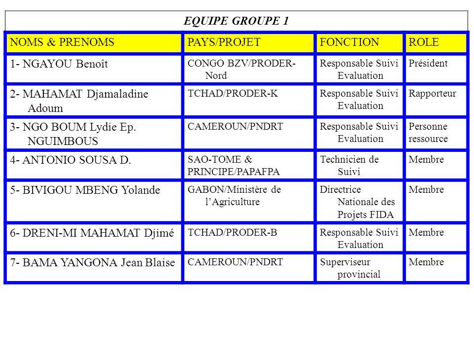 EQUIPE GROUPE 1 NOMS & PRENOMSPAYS/PROJETFONCTIONROLE 1- NGAYOU Benoît CONGO BZV/PRODER- Nord Responsable Suivi Evaluation Président 2- MAHAMAT Djamal