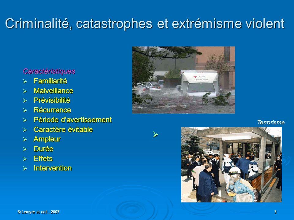 © Lemyre et coll., 2007 3 Criminalité, catastrophes et extrémisme violent Caractéristiques Familiarité Familiarité Malveillance Malveillance Prévisibi