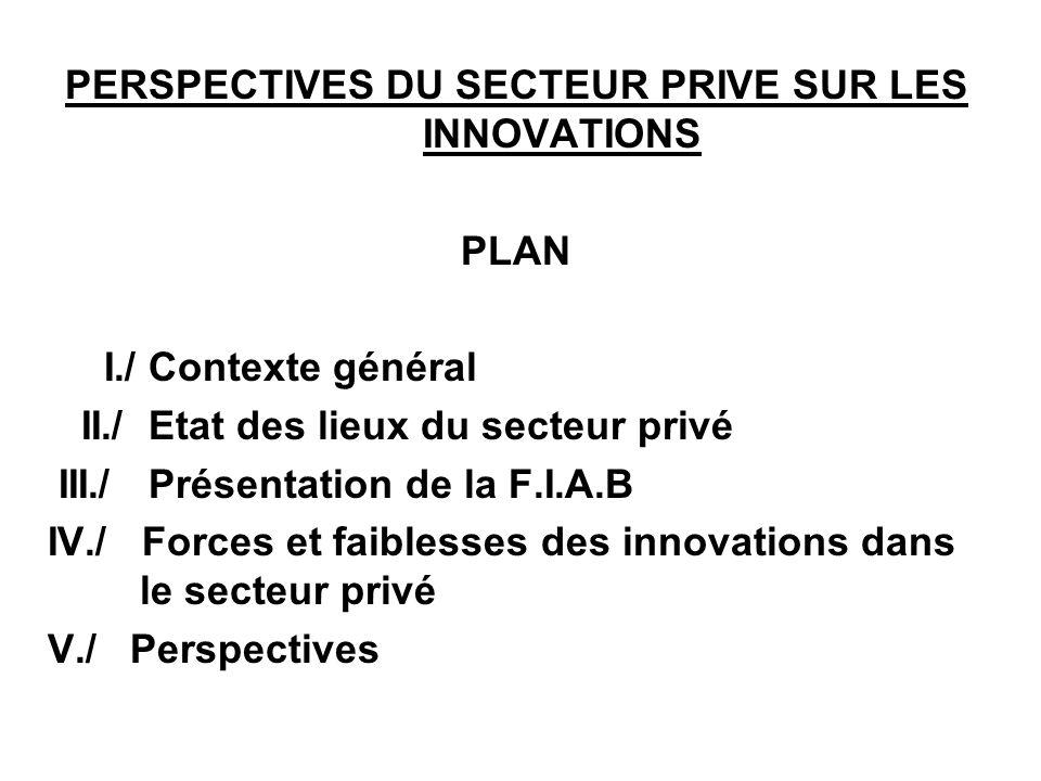 PERSPECTIVES DU SECTEUR PRIVE SUR LES INNOVATIONS PLAN I./ Contexte général II./ Etat des lieux du secteur privé III./ Présentation de la F.I.A.B IV./