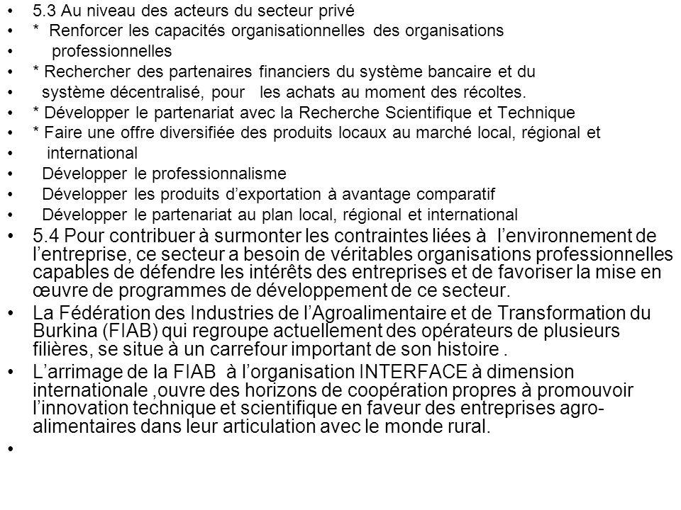 5.3 Au niveau des acteurs du secteur privé * Renforcer les capacités organisationnelles des organisations professionnelles * Rechercher des partenaire
