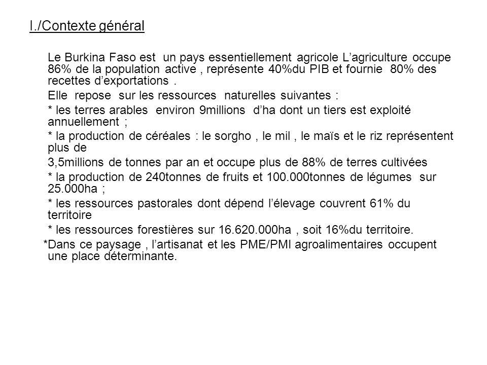 I./Contexte général Le Burkina Faso est un pays essentiellement agricole Lagriculture occupe 86% de la population active, représente 40%du PIB et four