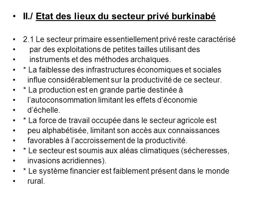 II./ Etat des lieux du secteur privé burkinabé 2.1 Le secteur primaire essentiellement privé reste caractérisé par des exploitations de petites taille