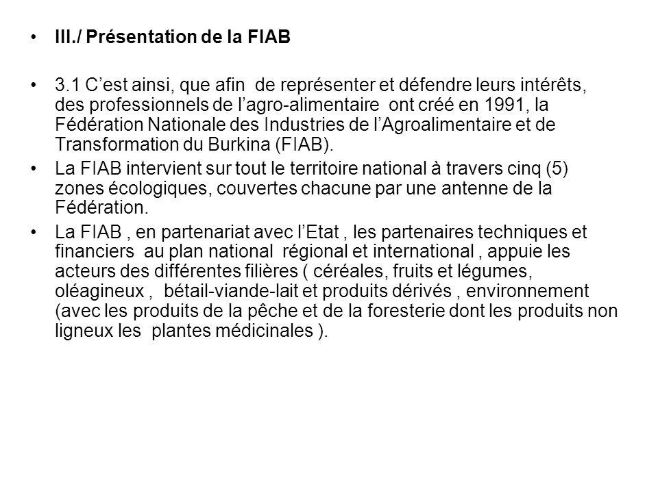 3.2 La FIAB a pour mission de contribuer à : * lémergence et au développement des PME/PMI agro- alimentaires par filière et par métier * lémergence et au développement dassociations professionnelles par filière et par métier Les activités de la FIAB sont rangées dans trois grands axes dintervention :