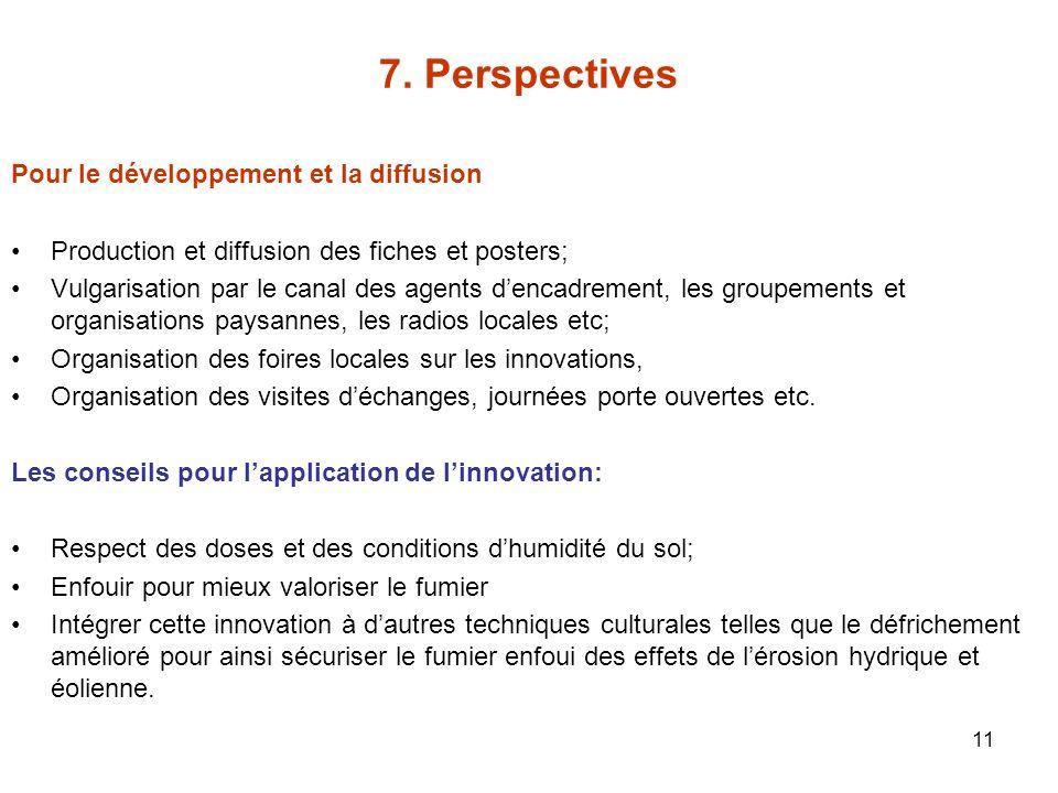11 7. Perspectives Pour le développement et la diffusion Production et diffusion des fiches et posters; Vulgarisation par le canal des agents dencadre