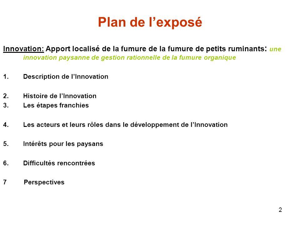 2 Plan de lexposé Innovation: Apport localisé de la fumure de la fumure de petits ruminants : une innovation paysanne de gestion rationnelle de la fum