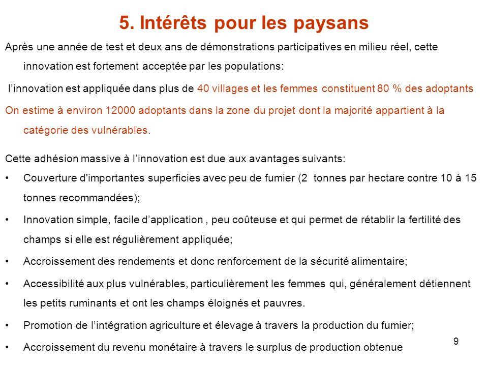 9 5. Intérêts pour les paysans Après une année de test et deux ans de démonstrations participatives en milieu réel, cette innovation est fortement acc