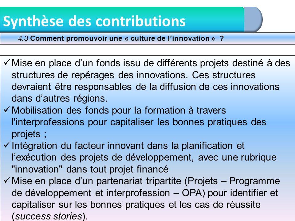 10 Synthèse des contributions Mise en place dun fonds issu de différents projets destiné à des structures de repérages des innovations. Ces structures