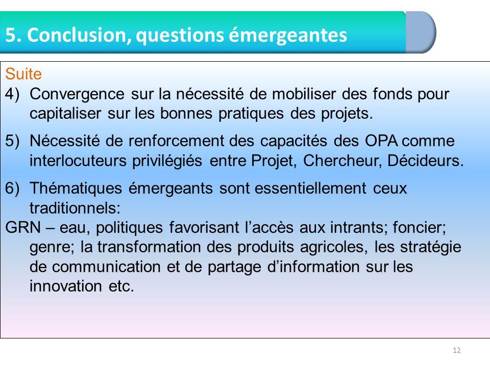 12 5. Conclusion, questions émergeantes Suite 4)Convergence sur la nécessité de mobiliser des fonds pour capitaliser sur les bonnes pratiques des proj