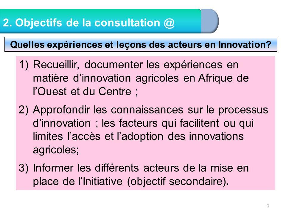 4 2. Objectifs de la consultation @ Quelles expériences et leçons des acteurs en Innovation? 1)Recueillir, documenter les expériences en matière dinno