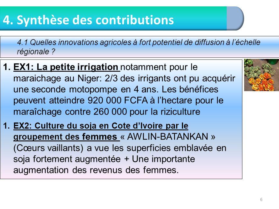 6 4. Synthèse des contributions 1.EX1: La petite irrigation notamment pour le maraichage au Niger: 2/3 des irrigants ont pu acquérir une seconde motop