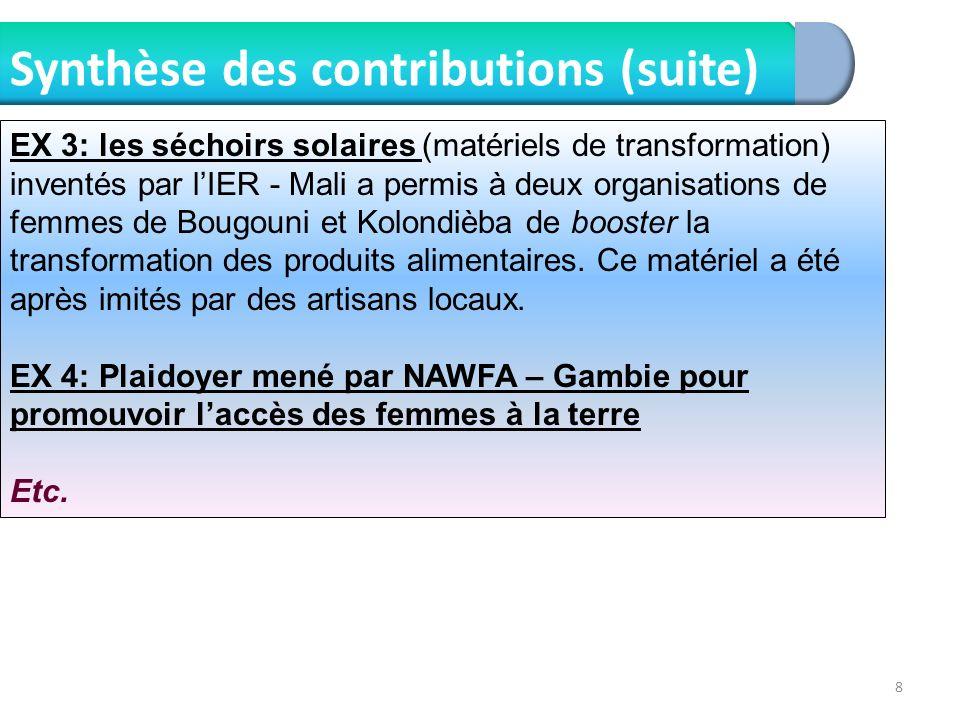 8 Synthèse des contributions (suite) EX 3: les séchoirs solaires (matériels de transformation) inventés par lIER - Mali a permis à deux organisations